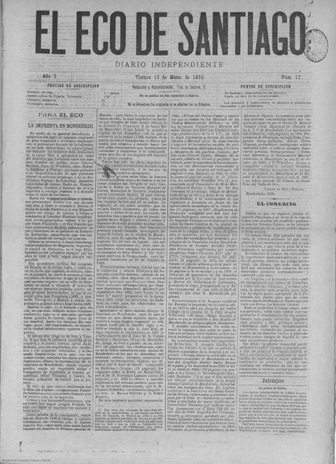 Curioso artículo sobre la imprenta de Mondoñedo en el Eco de Santiago. Mondoñedo ciudad medieval, fuentes para su estudio.              ISSN 2530-3996
