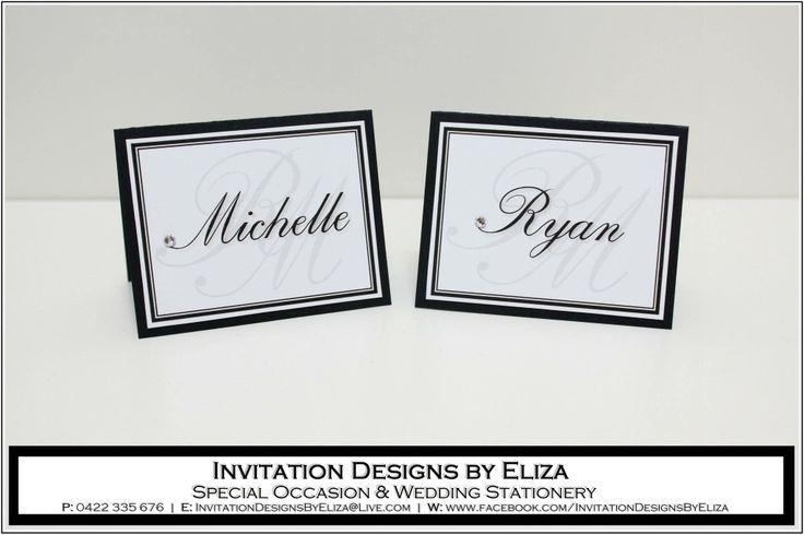 Place Tag Design {Wedding} Black & White Theme www.facebook.com/InvitationDesignsByEliza