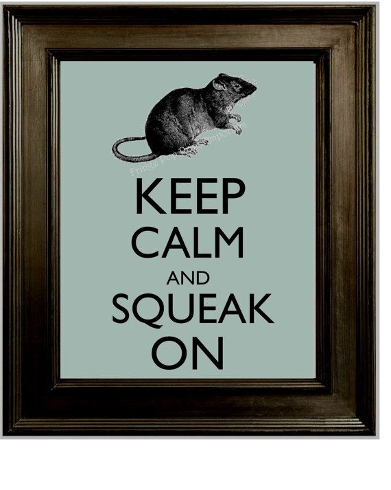 Keep Calm Rat Art Print 8 x 10 - Keep Calm and Squeak On - Pet Rat - Quirky Hipster Humor
