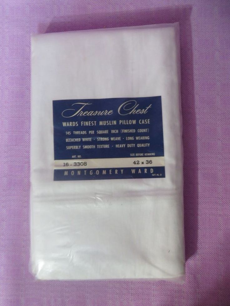 Vintage Cotton White  Pillow Cases Montgomery Ward Treasure Chest Muslin Sealed