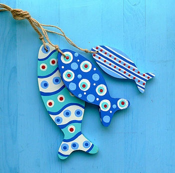 Wooden fish - blue with dots