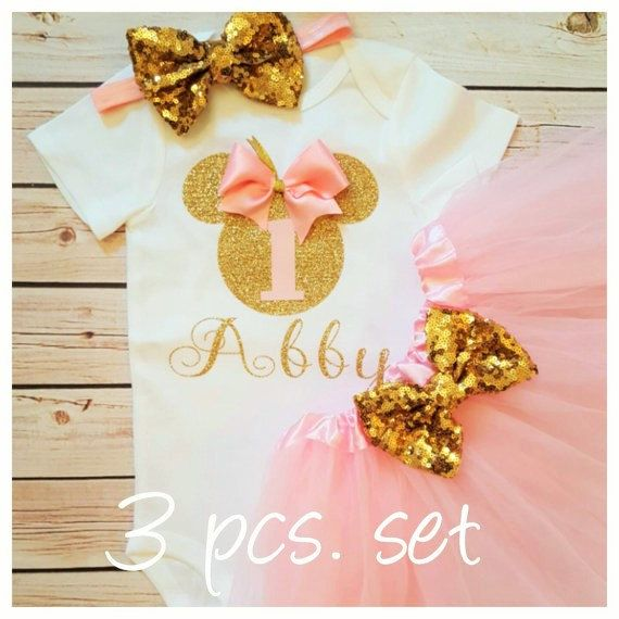 Minnie Mouse pink and gold tutu outfitTutu by MyBirthdayBoutiqueCo