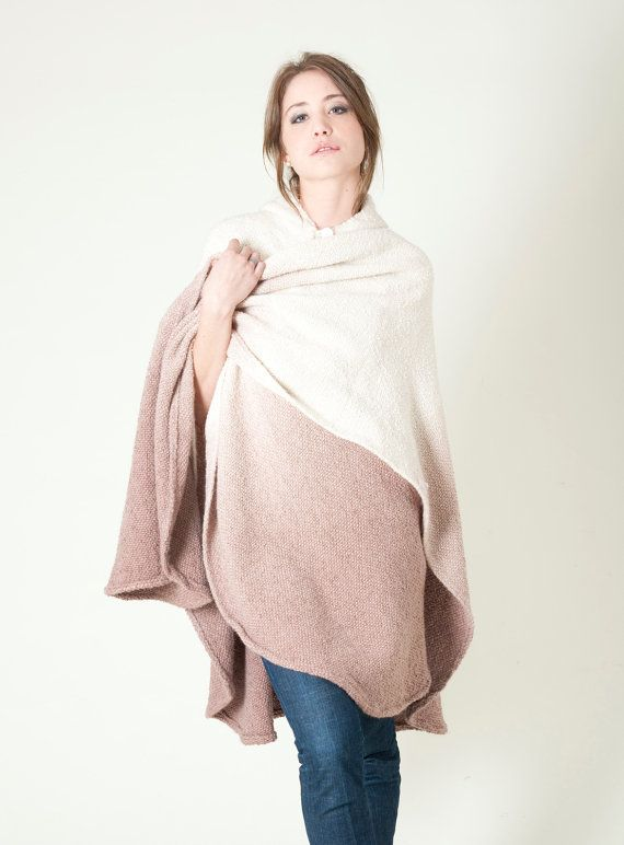 Hooded Cape Coat, Poncho wrap, Hoodie Ruana, Outerwear wool poncho, handwoven ombre dyed in merino wool, Fall trends by Texturable