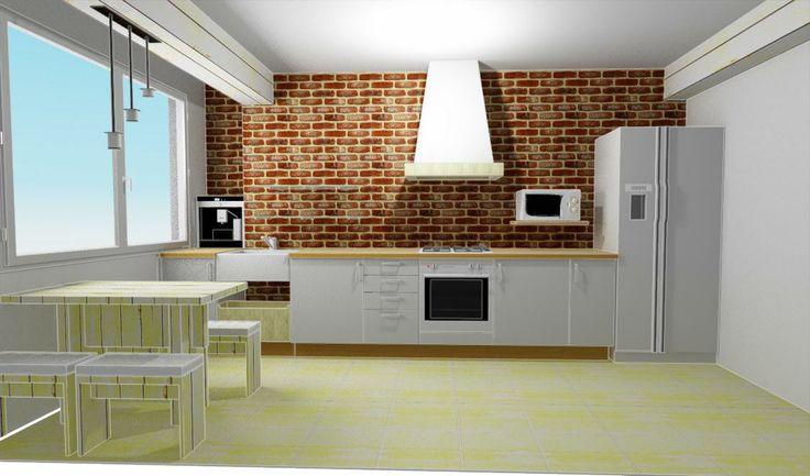 combinando pared de ladrillo con madera de haya blanca y arena. El restultado: una acogedora, práctica cocina y ÚNICA.