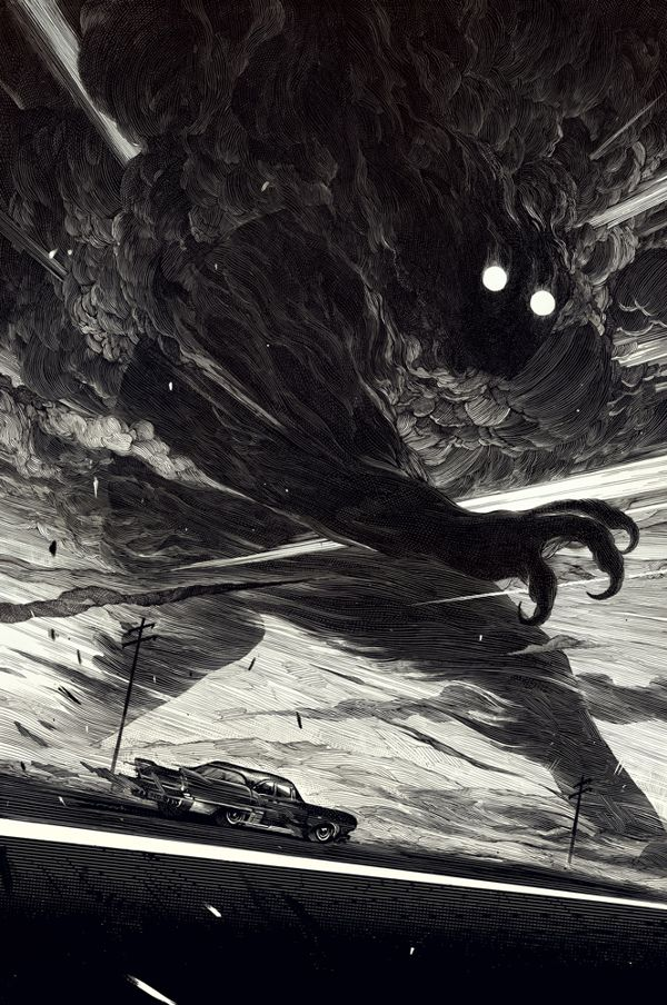 The End of the Road by Nico Delort, via Behance #illustration #drawing #ink #scratchboard #car #dark