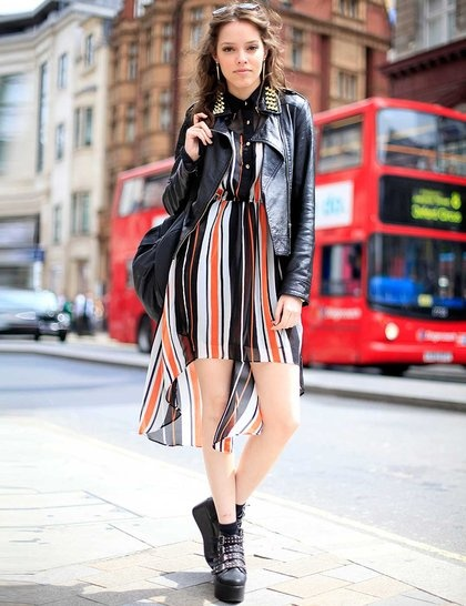Summer Stripes And Leather For Quirky Rock Chic Style