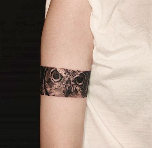 Owl armband tattoo