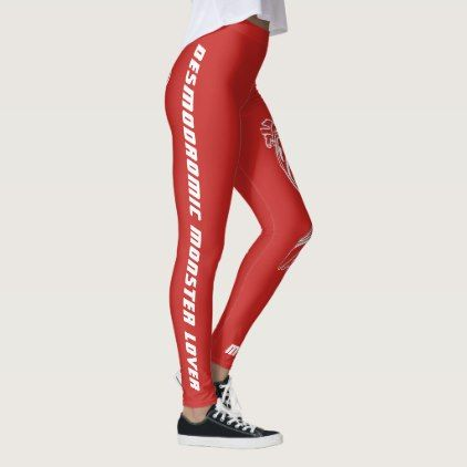 Desmodromic Monster Lover - Red Leggings - #customizable create your own personalize diy