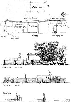 """Drawings by Cathy Keys documenting a Warlpiriyuntain ajilimi(women's residence) in Nyirripi, around 350 kilometres west of Alice Springs. From Cathy Keys, """"The Architectural Implications of Warlpiri Jilimi"""", PhD Thesis, University of Queensland, 1999."""