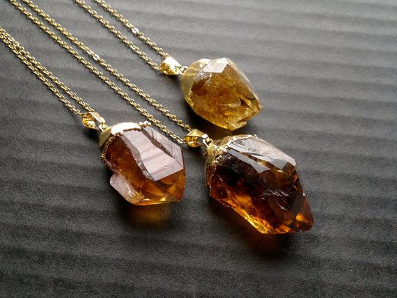 Citrine Crystal Necklace Citrine Pendant Citrine by SinusFinnicus