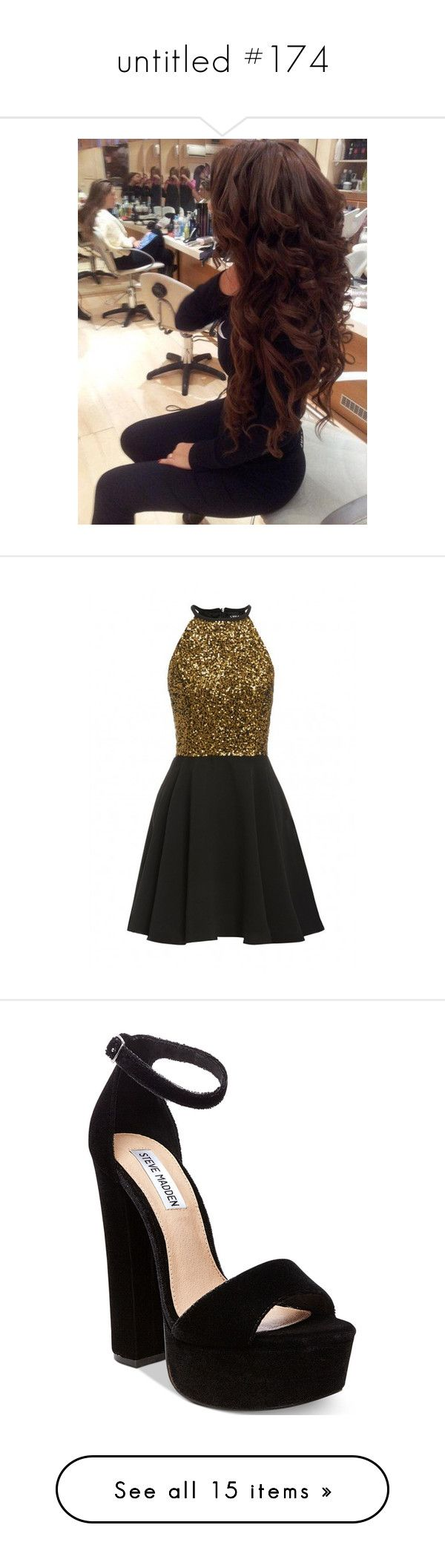 """""""untitled #174"""" by aj-mounger ❤ liked on Polyvore featuring beauty products, haircare, hair styling tools, dresses, vestidos curto, gold dress, sparkly party dresses, gold sequin dress, gold sparkly dress and gold sequin cocktail dress"""