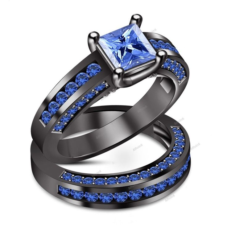 3.50 CT Princess Cut Blue Sapphire Women Solitaire With Accents Bridal Ring Set #Affoin8