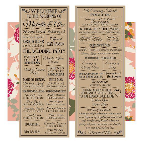 Printable Digital Wedding Program - Vintage Playbill Theme - Looks Great on Kraft Paper on Etsy, $35.00