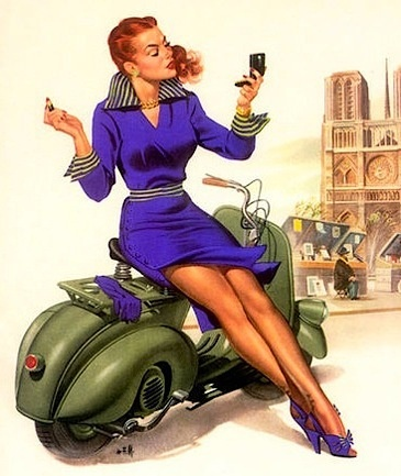 pinup girl props against vespa