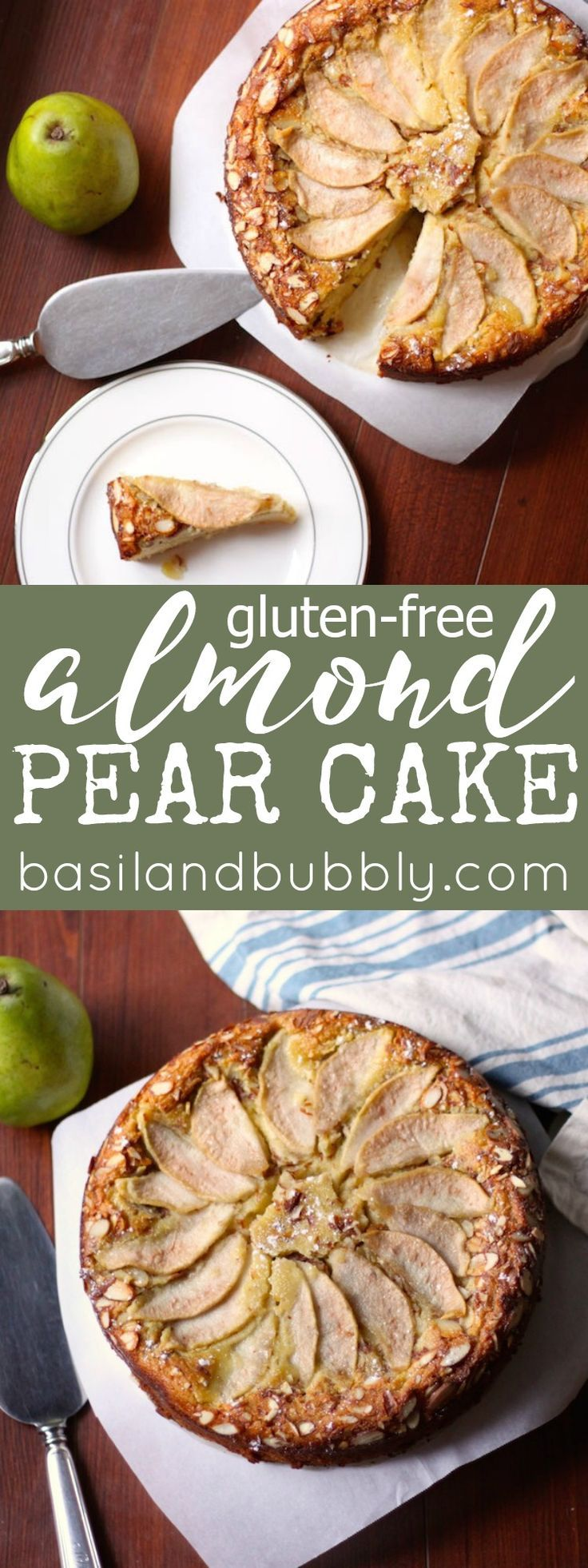 GF Almond Pear Cake.  Super moist, perfect for brunch or dessert.  Packed with fruit and completely gluten free.