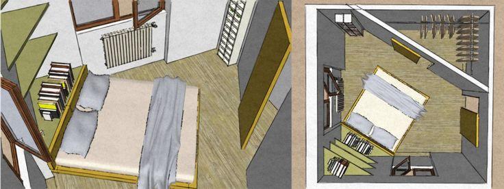 La prima soluzione prevede la creazione di una parete inclinata che formi una cabina armadio e che il letto venga messo tra le due finestre inclinato. Questa soluzione permette di creare un appoggio diverso al letto, che non sia il tradizionale appoggio a 90° sul muro