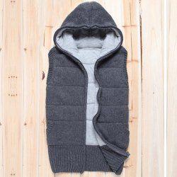 $16.98 Hooded and Zipper Embellished Design Slimming Sweater Vest For Men