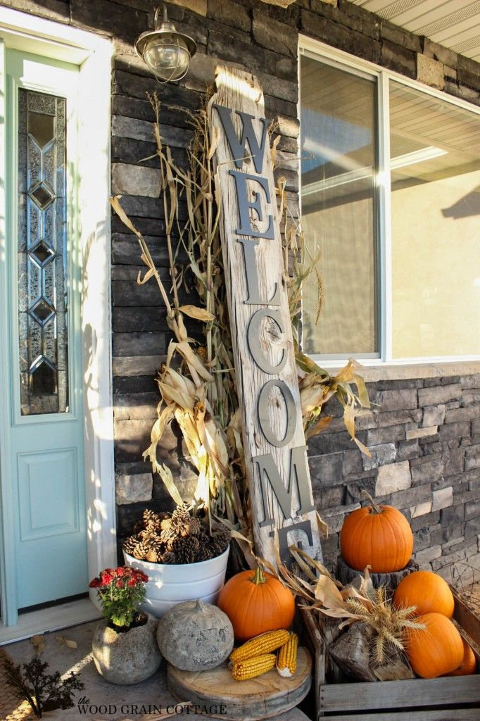 Fall Porch and Diy Reclaimed Wood Welcome Sign: Decor Ideas, Wood Grains, Porches Decor, Fall Decor, Grains Cottages, Welcome Signs, Fall Porches, Autumn Front Porches, Old Barns