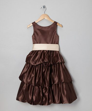 Take a look at this Brown & Champagne Tiered Dress - Toddler & Girls by Cinderella Couture on #zulily today!