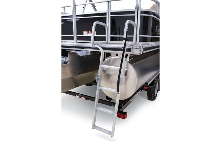 NEW oversized 3-step folding boarding ladder w/taller grab rails & longer ladder http://www.exclusiveautomarine.com/product/party-barge-254-xp3