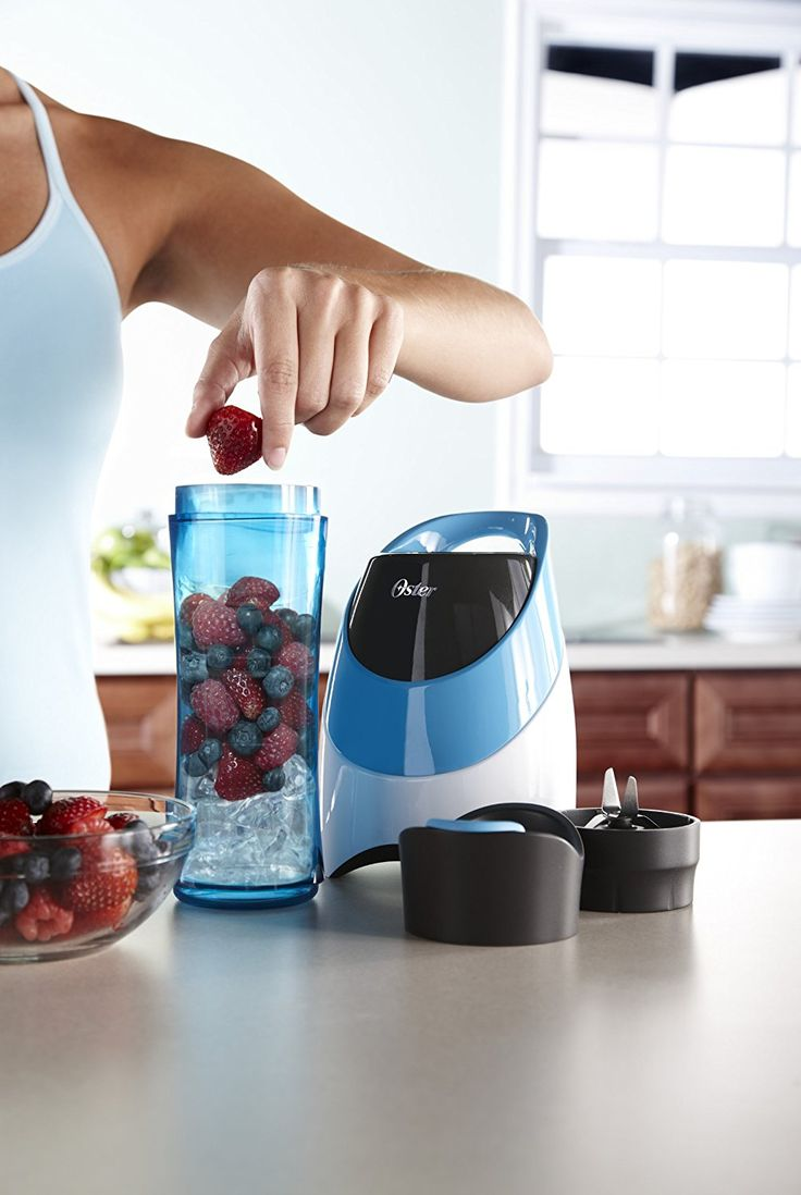 Oster BLSTPB-WBL My Blend 250-Watt Blender with Travel Sport Bottle - Get up. Get blending. Get going.