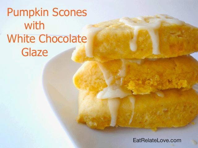 Pumpkin Scones/Biscuits with White Chocolate Glaze