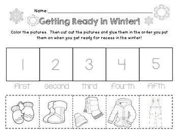 Pre-K and Kindergarten How to Dress in Winter Worksheet
