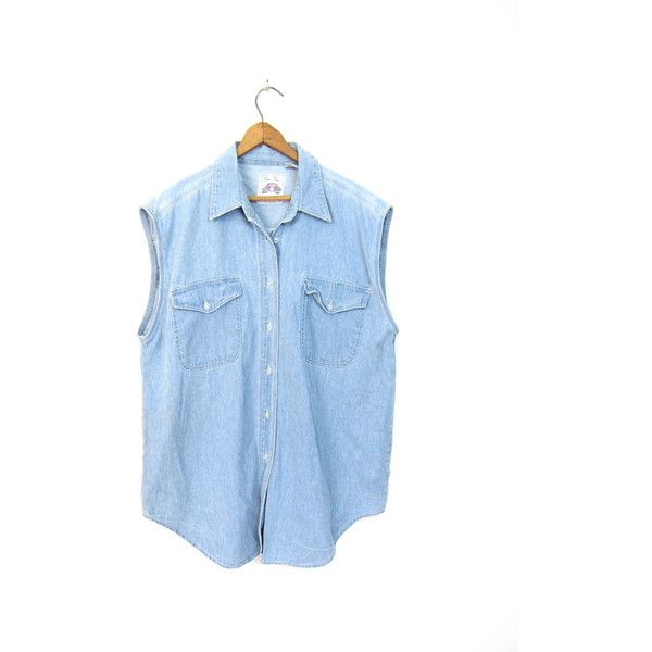 90s Sleeveless Jean Shirt Faded Worn In Denim Button Up Shirt Light... ($28) ❤ liked on Polyvore featuring tops, vintage shirts, button up shirts, sleeveless denim shirt, light blue shirt and light blue denim shirt
