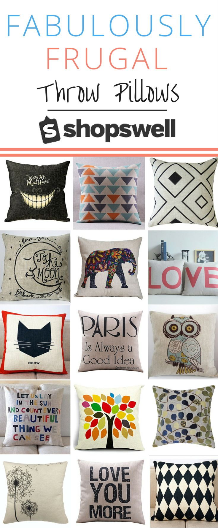 Fabulously frugal throw pillows that won't break the bank. Shop these fun home design ideas for less than you'd think.