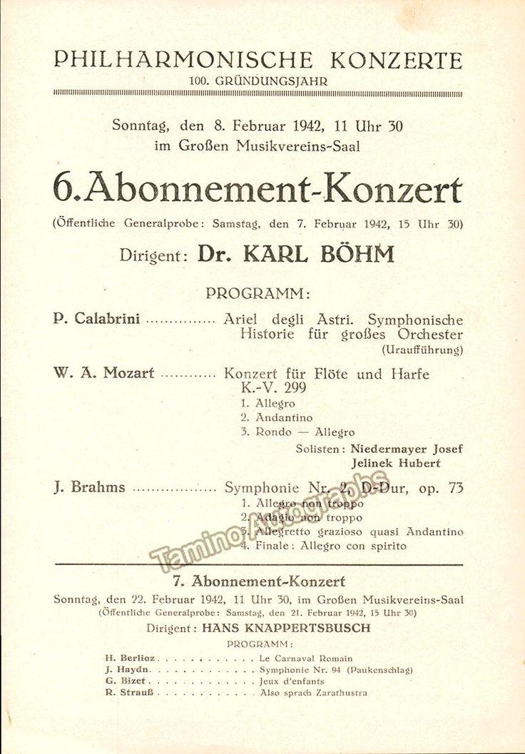 Bohm, Karl - 2 Programs Vienna Philharmonic 1942-1943