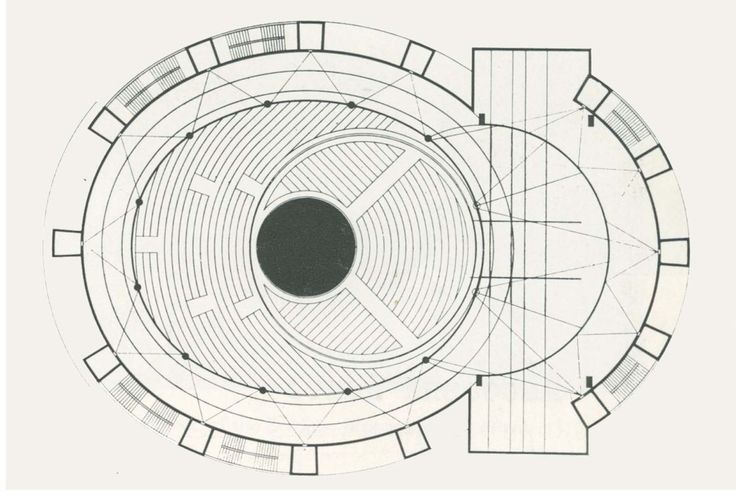 Plans of Architecture (Walter Gropius, Total Theatre, 1927, Berlin,...)