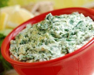 Speedy Spinach Dip    PER 1/4 cup SERVING:  Net Carbs: 2 grams  Total Carbs: 3 grams  Fiber: 1 gram  Protein: 2 grams  Fat: 10 grams  Calories: 110  Makes: 12 (1/4-cup) servings