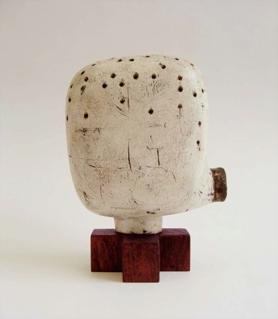Jay Kelly 2009 Metal, Wood, Gesso. 3.25 x 2.75 x 2 inches   Wood base .75 x 1.75 x 1.75 inches  Sold  Untitled #192
