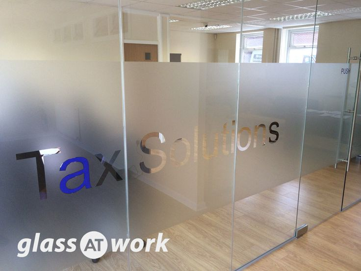 From Glass At Work: A Glass Office Partition With Single Door & Manifestation - Tax Solutions Ltd, Sheffield.