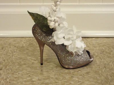 Silver Shoe Centerpiece with White Decor | eBay