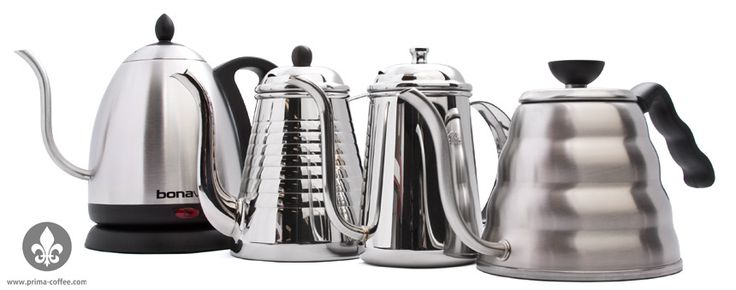 Bonavita Kettle, Hario Buono Kettle, Kalita Thin Spout Kettle, and Kalita Wave Pot Kettle
