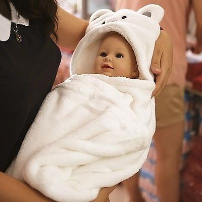 White Cartoon Baby Kids Newborn Hooded Bathrobe Toddler Boy Girls Bath Towel.. USD 5.99