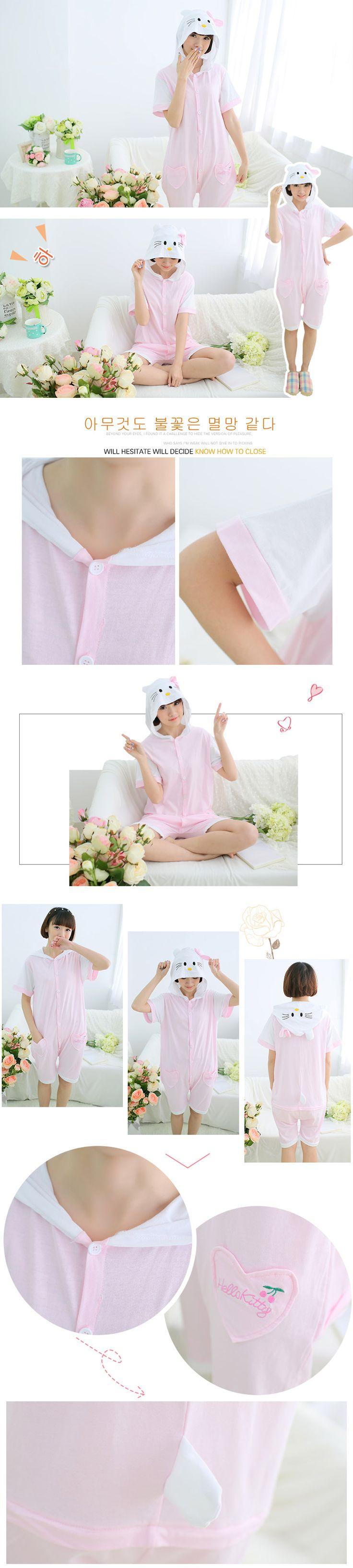Hello Kitty мультфильм с короткими рукавами летом часть пижамы мужчин и женщин пара отцовство костюм костюм хлопка детей -tmall.com Lynx