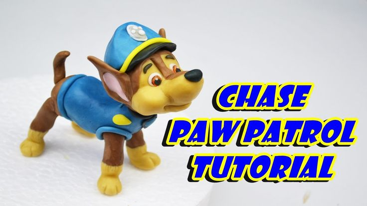Chase PAW PATROL cake topper fondant - tutorial cane pasta di zucchero t...