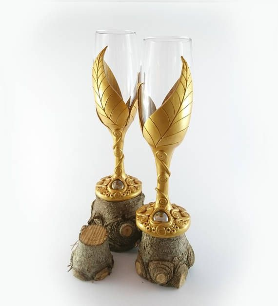 Gold Champagne Flutes Set of 2 Polymer Clay Natures