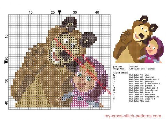 Small Masha and The Bear cross stitch pattern for baby bibs size 44 x 41 stitches