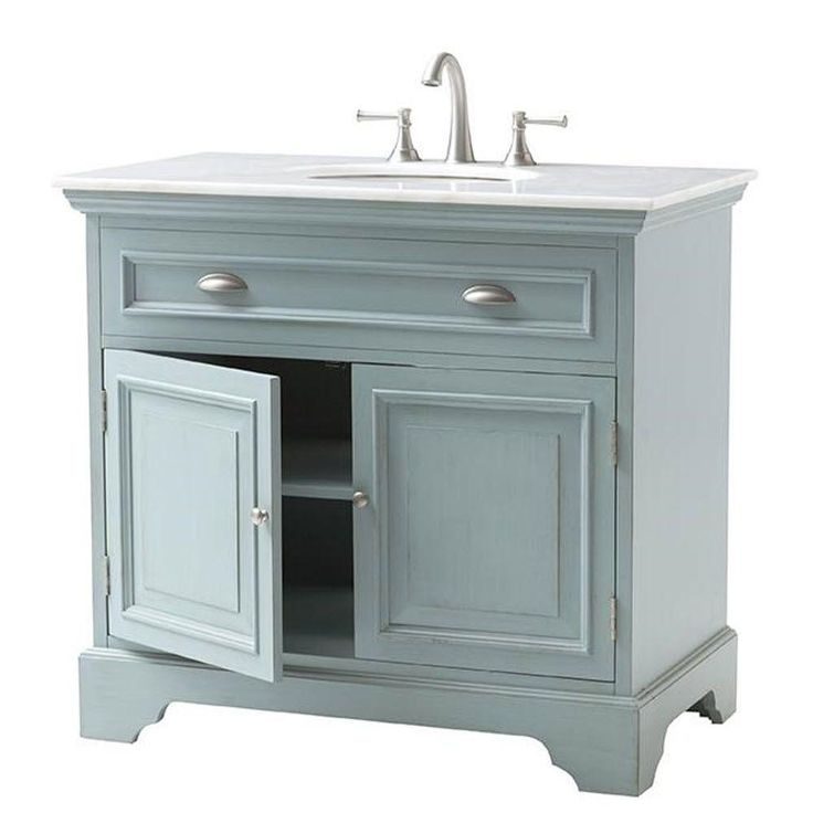 Home Decorators Collection Sadie 38 In Vanity In Antique Light Cyan With Natural Marble Vanity