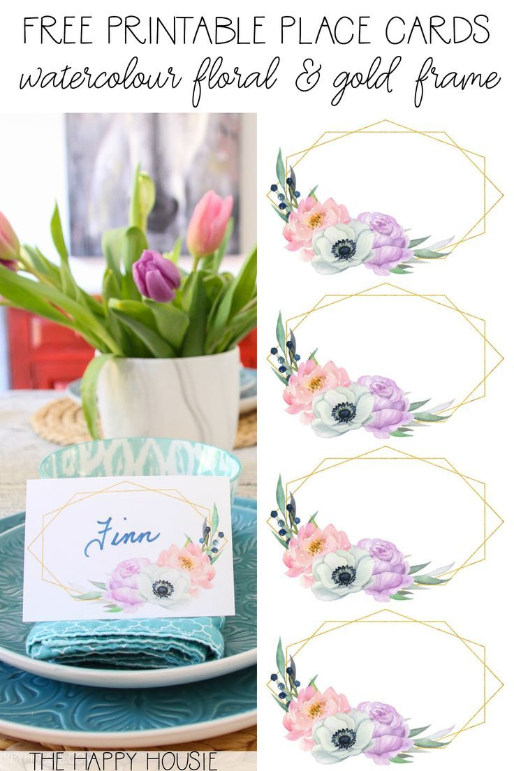 Free Printable Spring Watercolour Bohemian Floral Place Cards The Happy Housie Printable Place Cards Floral Printables Free Birthday Printables