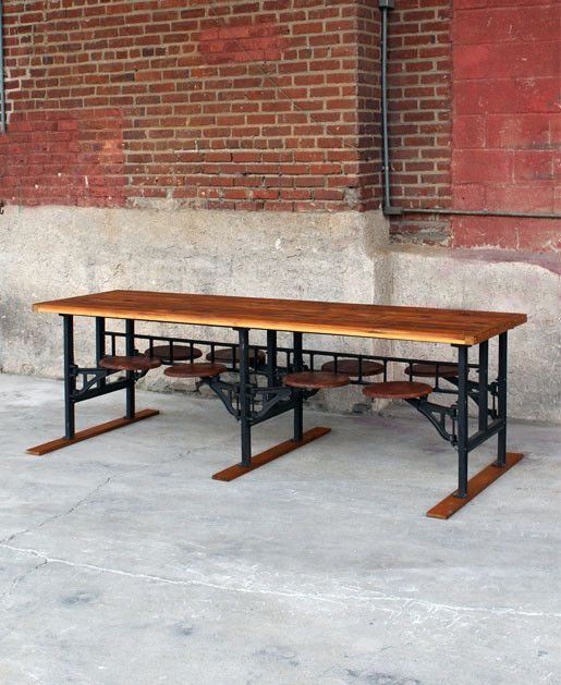 Love This Vintage Cafeteria Table. 6 Seat