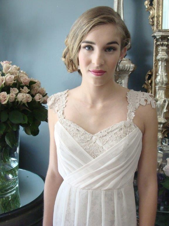 Pretty chiffon & lace handmade ball gown and makeup by Bobbi Brown