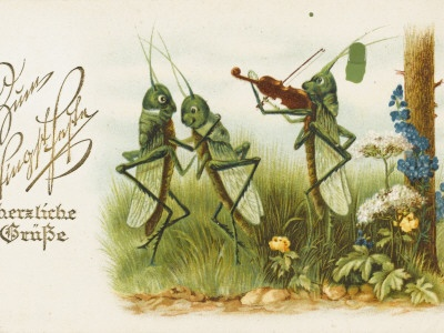 Dancing Grasshoppers - Russian Postcard