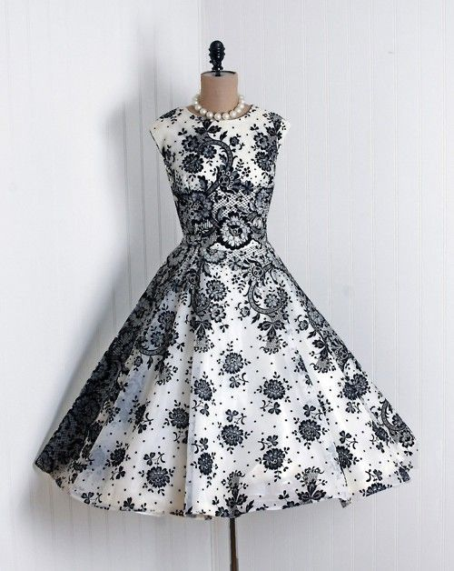 gorgeous!: Fashion, Vintage Wear, Cocktails Dresses, Party Dresses, Vintage Styles, Clothing, Black And White, 1950S Dresses, Black White