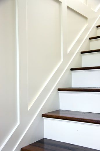 Painted Stairs, Panelling, Dark Stained Treads