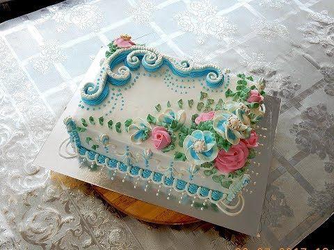 УКРАШЕНИЕ ТОРТОВ - Квадратный тортик 26х26см Cake decoration - YouTube