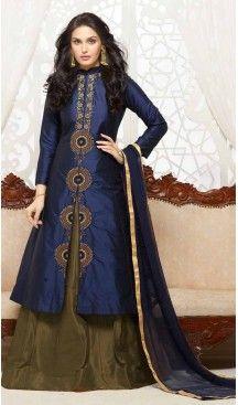 Navy Blue Color Cotton Achkan Style Evening Wear Churidar Suit | FH546181846 Follow Us @heenastyle  #vintageclothing #vintagelover #newyorksportswear #slipdress #mondaymood #geometricprint #multicolor #tshirtdress #tendencia #verao2017 #maxcolete #casualtops #offtheshouldertops #outfit #blackandwhite #overtheknee  #geometricpattern #geometric #prints #salwarkameez #suit #saris #heenastyledresses #fashion2017 #boutique #indian #heenastyle